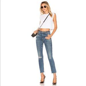 GRLFRND Karolina Last Dance Frayed Button Jeans